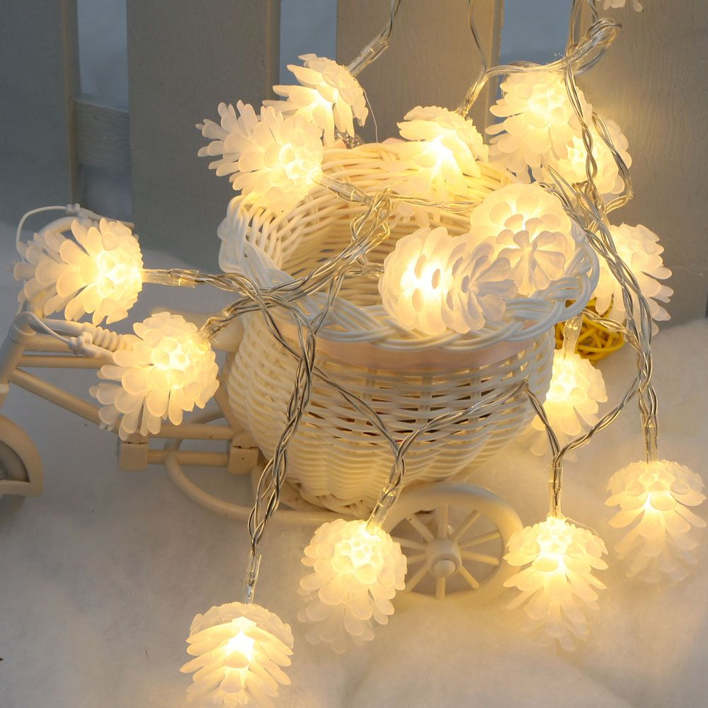 Lixada Pinecone String Light 2.2M 20 LED Warm White Pinecone Lamp ...