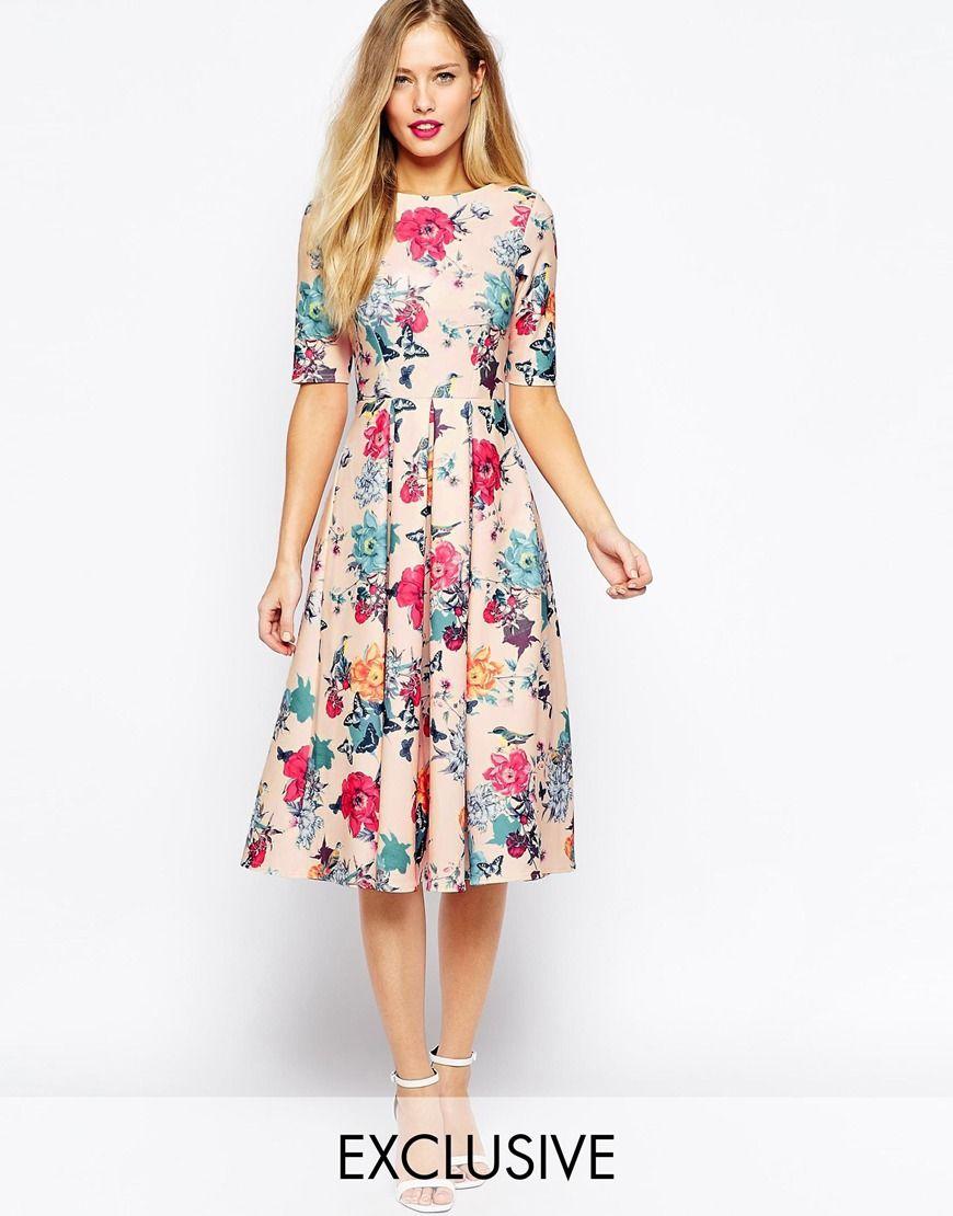 Closet Scuba Midi Skater Dress In Floral Print  f9a8445e026
