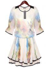 White Vintage Chinese Ink Printed Slik Half Sleeve Dress