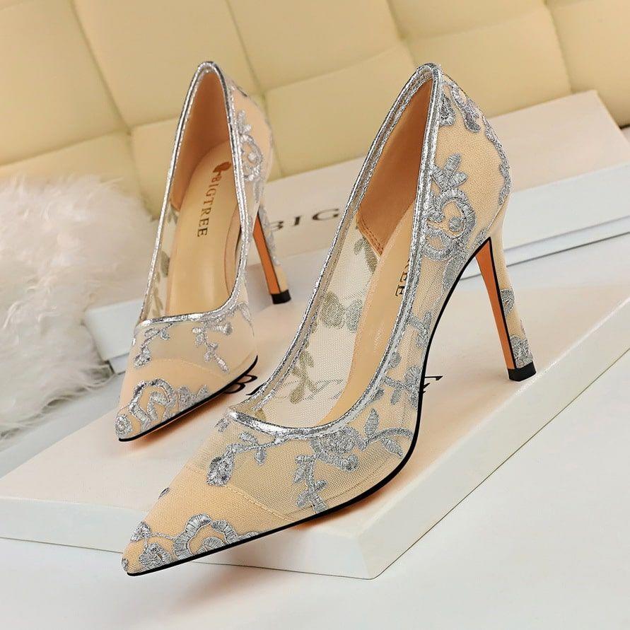 Women Dress Pumps Wedding Wear Eight Colors Mesh Heels Pump Dress Pink High Heels [ 891 x 891 Pixel ]