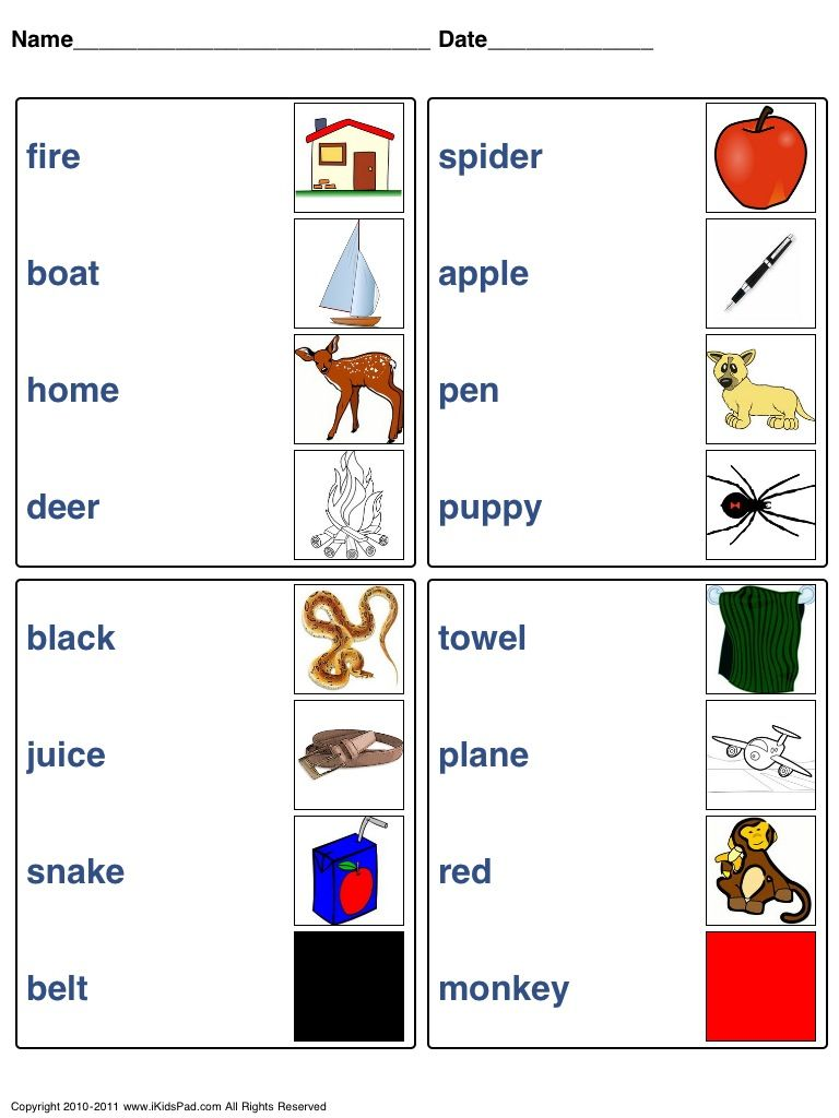 Match word with picture | Fun worksheets for kids, Fun ...
