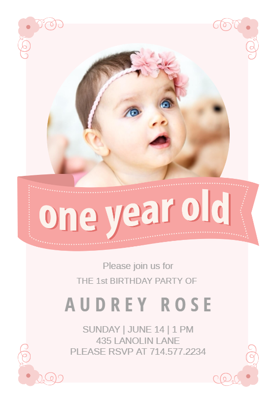 Pink Ribbon Printable Invitation Customize Add Text And Photos Print For Free