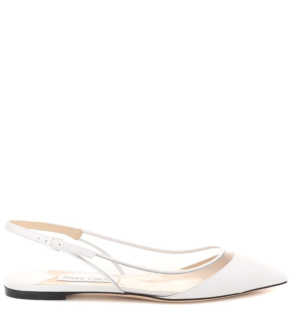 a7bcbc56636 Erin leather slingback flats Jimmy Choo lamb leather clear pointed ...