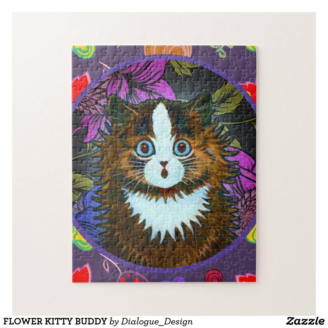 Flower Kitty Buddy Jigsaw Puzzle Zazzle Co Nz In 2020 Jigsaw