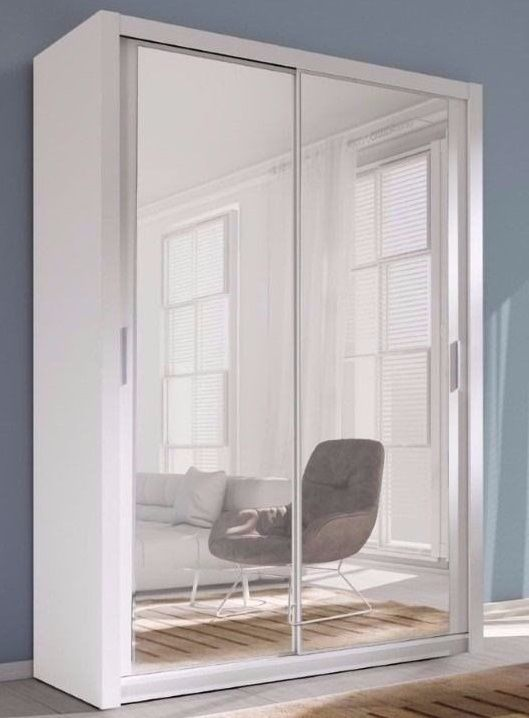 Full Mirror Bedroom White Two Sliding Door Wardrobe 120 Cm Delivery Available White Bedroom Full Mirror