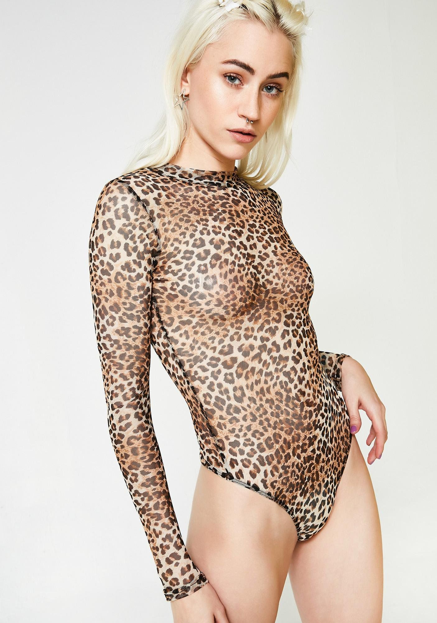Fierce On The Attack Sheer Bodysuit cuz you re gonna take  em out quick.  This sheer leopard print bodysuit has a high neckline 70366f47f
