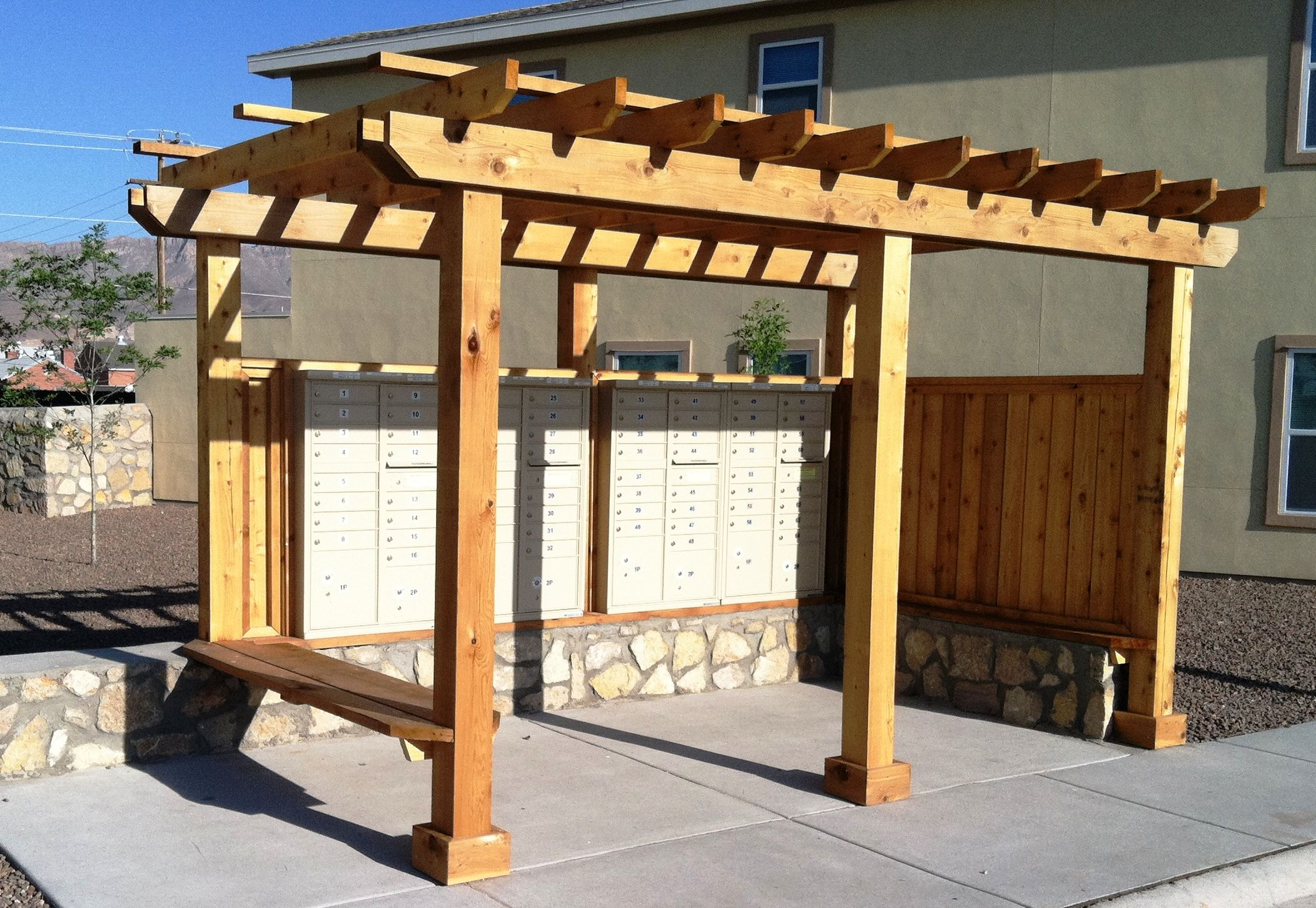 Ft Bliss Military Housing Project In Texas 1 Of Several Mail Kiosks With Images Military Housing Home Projects Covered Pergola