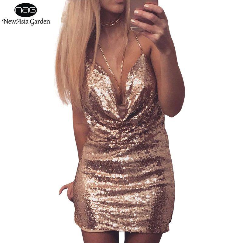 Sexy Drap Deep V Halter Backless Metallic Split Chain Women s Sequined Dress  Mini Party Club Wear Dresses Plus Size S-XL New cccd57cc1