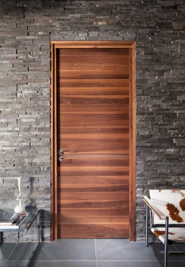 Wooden Internal Doors With: Contemporary Horizontal Grain Black Walnut Veneer Raw From