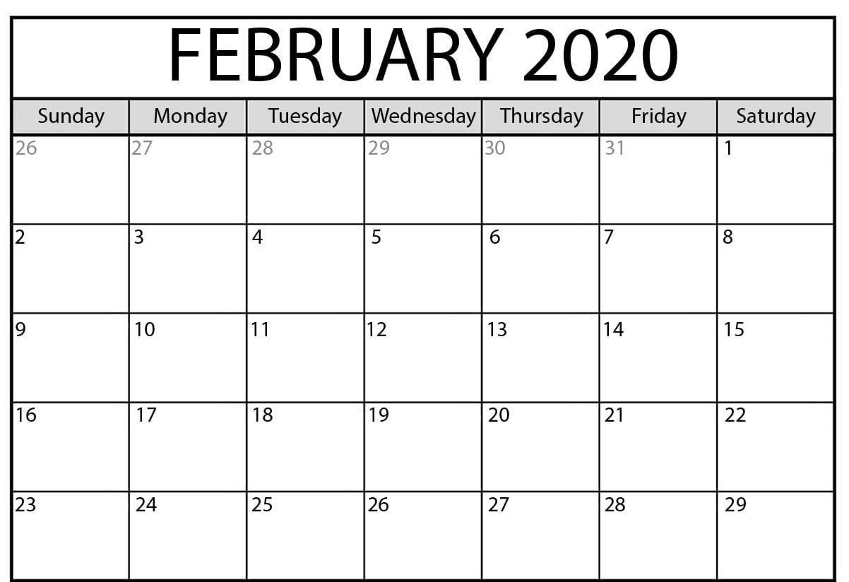2020 February Calendar Printable.February 2020 Calendar Pdf Printable Calendar Template