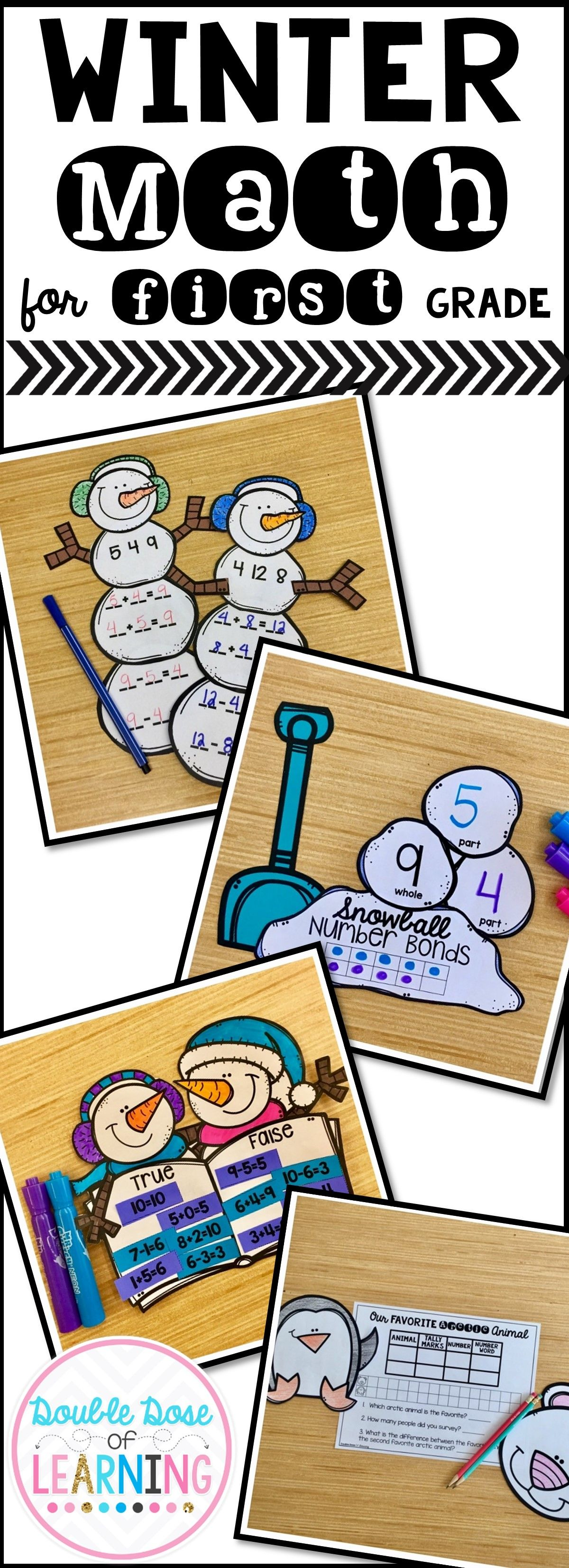 Winter Math Craftivities For First Grade Fact Families Equations Amp Graphing