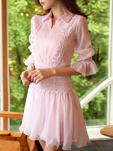 Paneled Plain Mini Dress