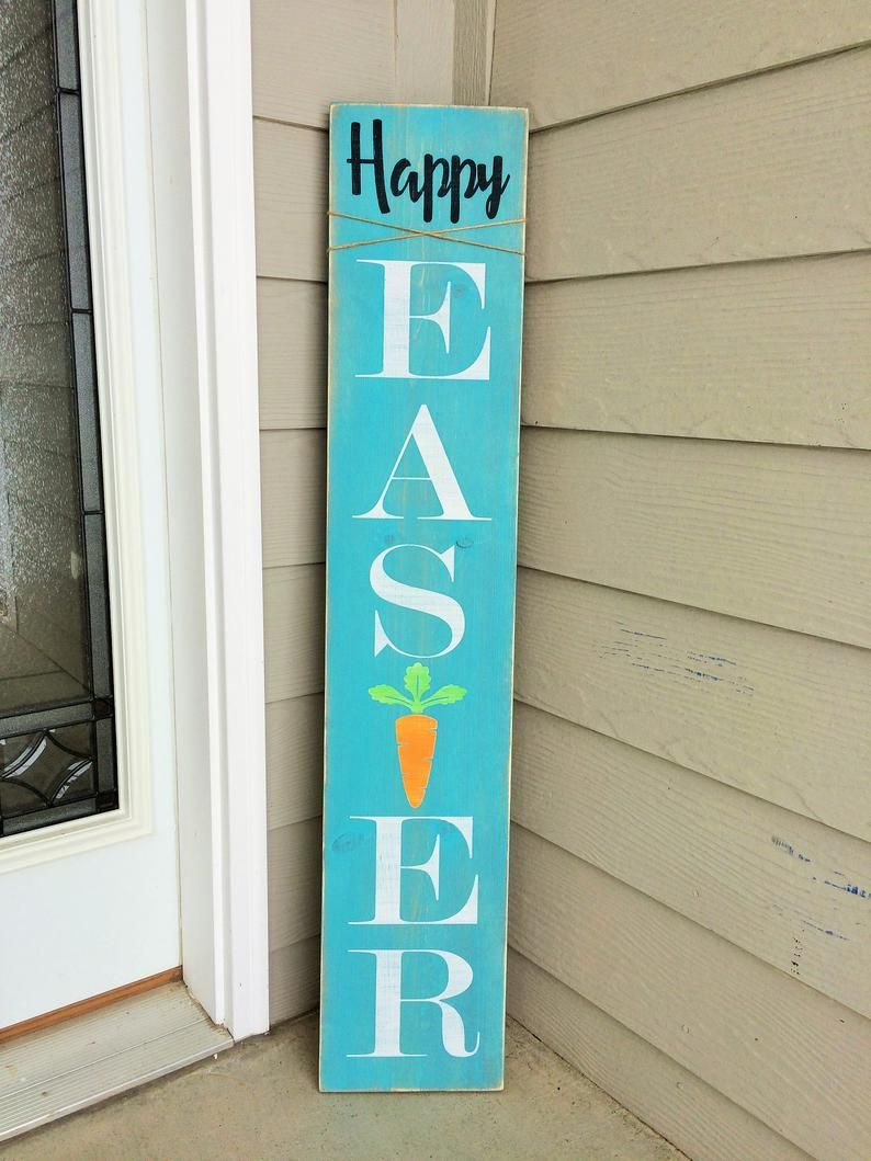 Welcome Sign For Front Door Tall Wood Porch Sign Easter Etsy Easter Wood Signs Easter Front Porch Easter Front Porch Decor