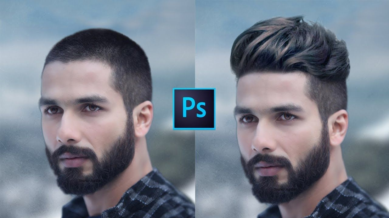 How To Change Hair Style In Short Hair Head Men Photoshop Tutorial Change Hair Short Hair Styles Mens Hairstyles