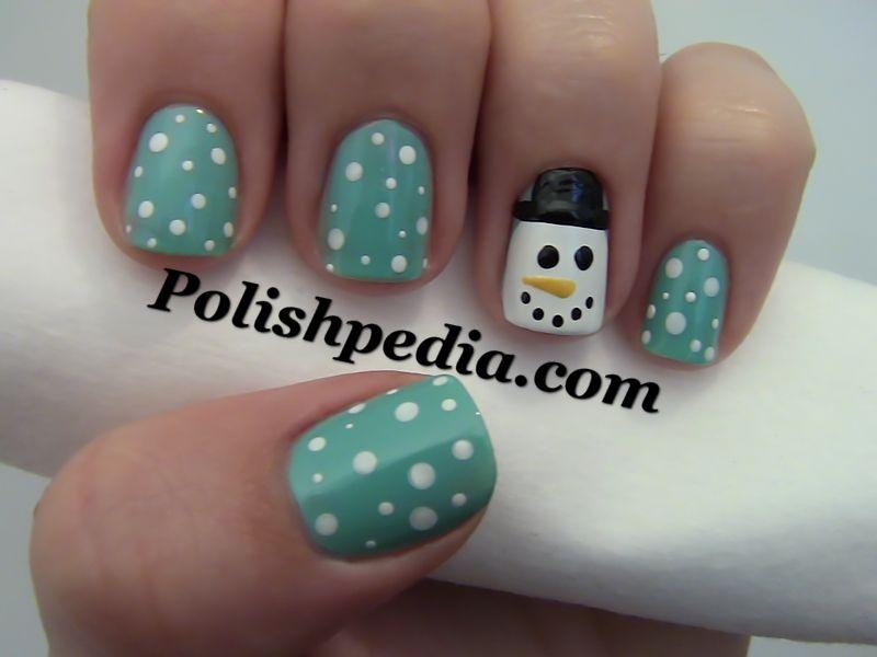 I have blue nailpolish and white and black nail art brushes :) Maybe I  could do these this year? Hahaha just love the snowman :) - Navidad Ya Llega Nails Pinterest Snow Men, Snowman And Snow