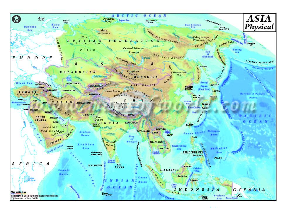 Asia physical map | Asia | Pinterest | Asia