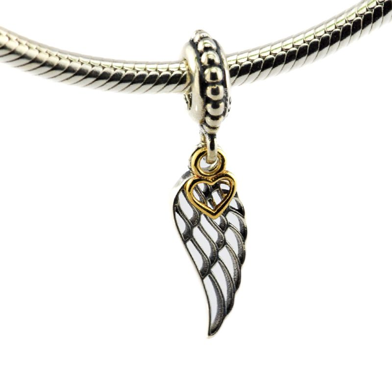 090bd591d ... coupon code for diy fits pandora charms bracelets angel wing beads with  14k real gold heart