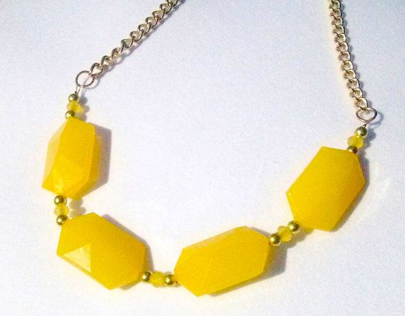 Large Yellow Bead Necklace  Chunky Yellow by ByKeeksWithLove