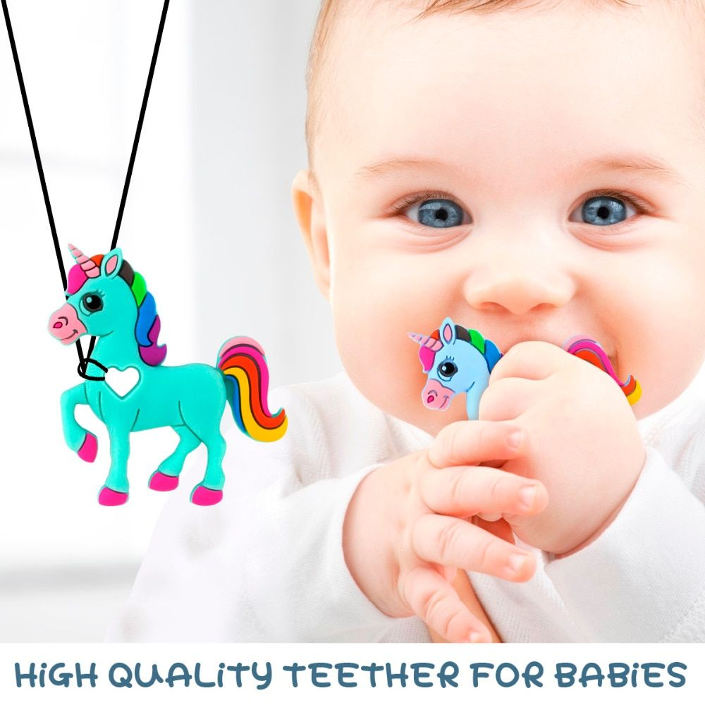 3pcs unicorn silicone teether baby teething toy beads in