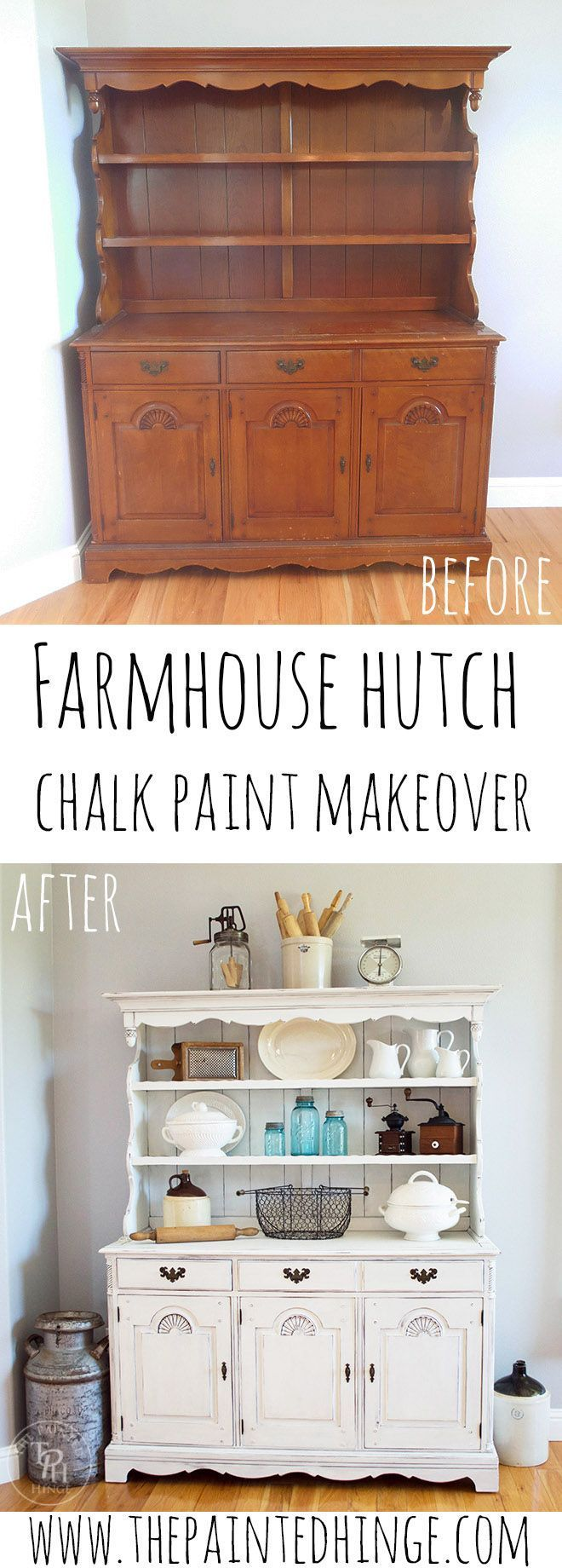 Farmhouse Hutch Makeover with Country Chic Paint | Country chic ... for Farmhouse Painting Ideas  110zmd