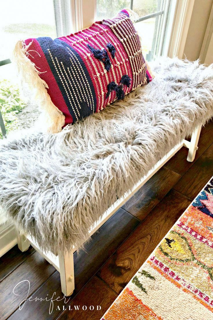 DIY Gray Faux Fur Bench by Jennifer Allwood | Luxe and LiVed in | Comfy Glam Style | Home Decor Ideas | Boho Office Decorating Ideas | Grey | Faux Fur Bench Cover | Upcycle | Bench Upgrade | #garagesalefind #thriftstorefind | Thrift Store DIY | Faux Fur Bench DIY | #glam #homedecor #decoratingideas #DIY #diyhomedecor #howto #boho #recycle #repurpose #upcycle #diyfurniture