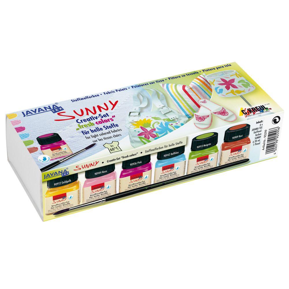 Sunny tekstiilivärit Fresh 6x20ml - Javana Sunny vesipohjaisilla tekstiiliväreillä personoit ja tuunaat T-paidat, huivit, kengät, kassit, kukkarot, pöytä- ja tyynyliinat. Maalauksellinen, juokseva koostumus. Voit sekoittaa värejä keskenään, ja luoda näin sävyjä lisää. #kankaanpainanta #fabric #painting #stencils #diy