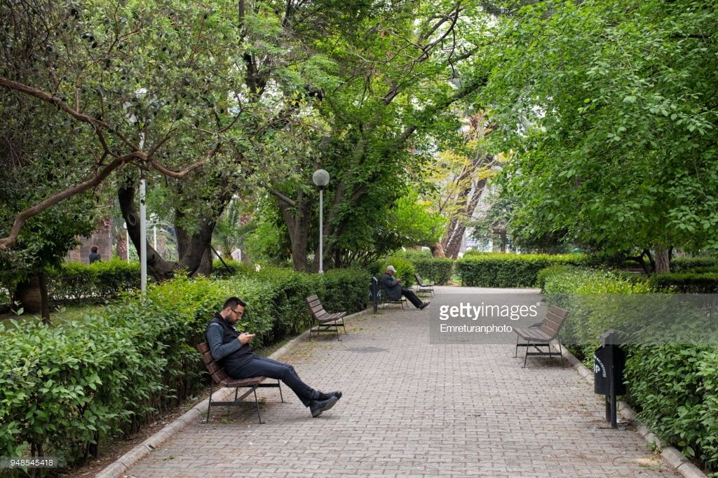 Awe Inspiring People Sitting On Wooden Benches In A Public Park In The Bralicious Painted Fabric Chair Ideas Braliciousco