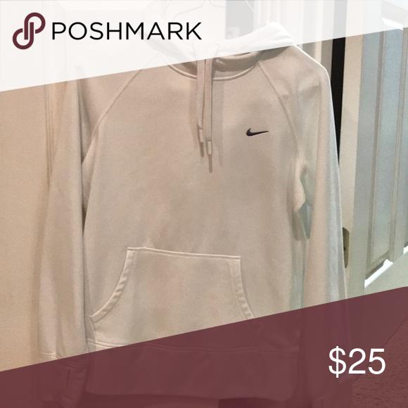 White Nike therma-fit hooded sweatshirt. Like new! Smoke free home. Worn once. No stains. Nike Tops Sweatshirts & Hoodies
