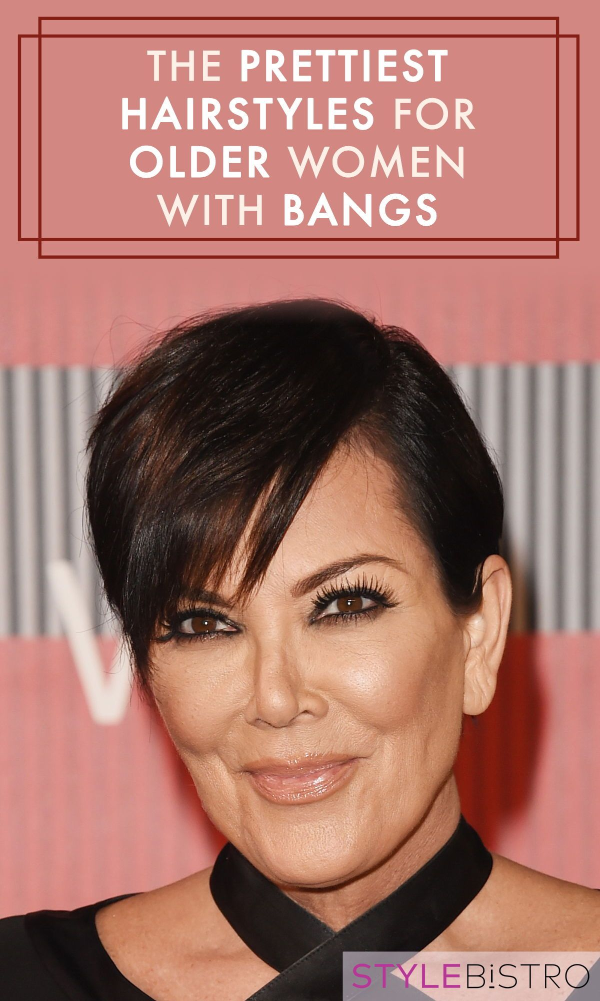 The prettiest hairstyles for older women with bangs short hair