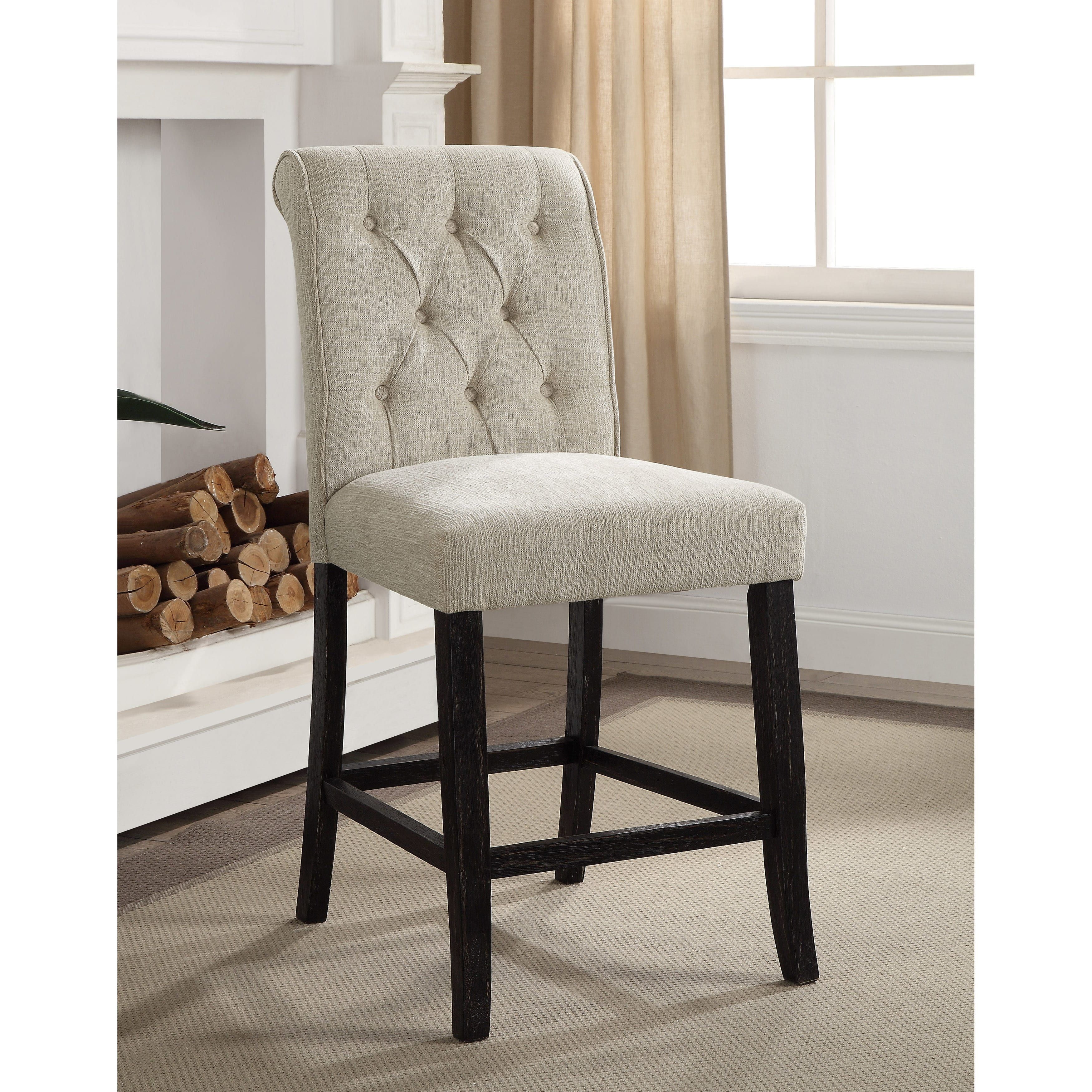 Furniture Of America Sheila Contemporary On Tufted Counter Height Chair