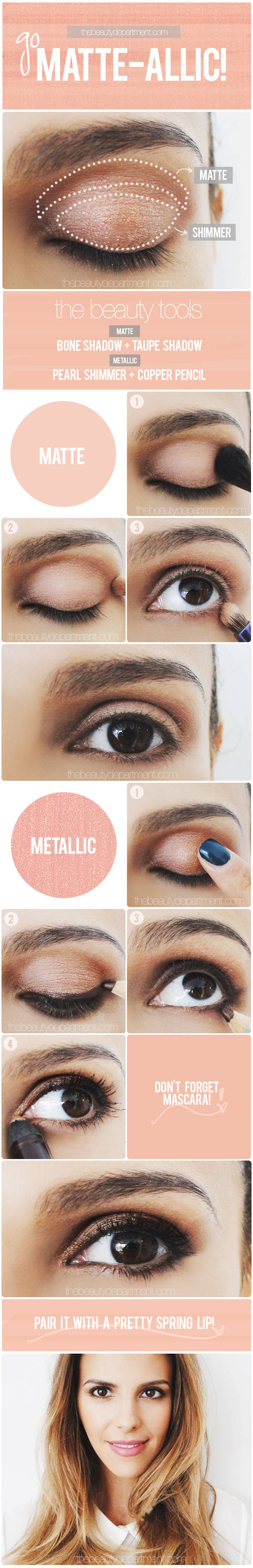 matte-alic eye tutorial....I especially love the matte version of these blended metallic and matte shadow styles. {via the beauty department}