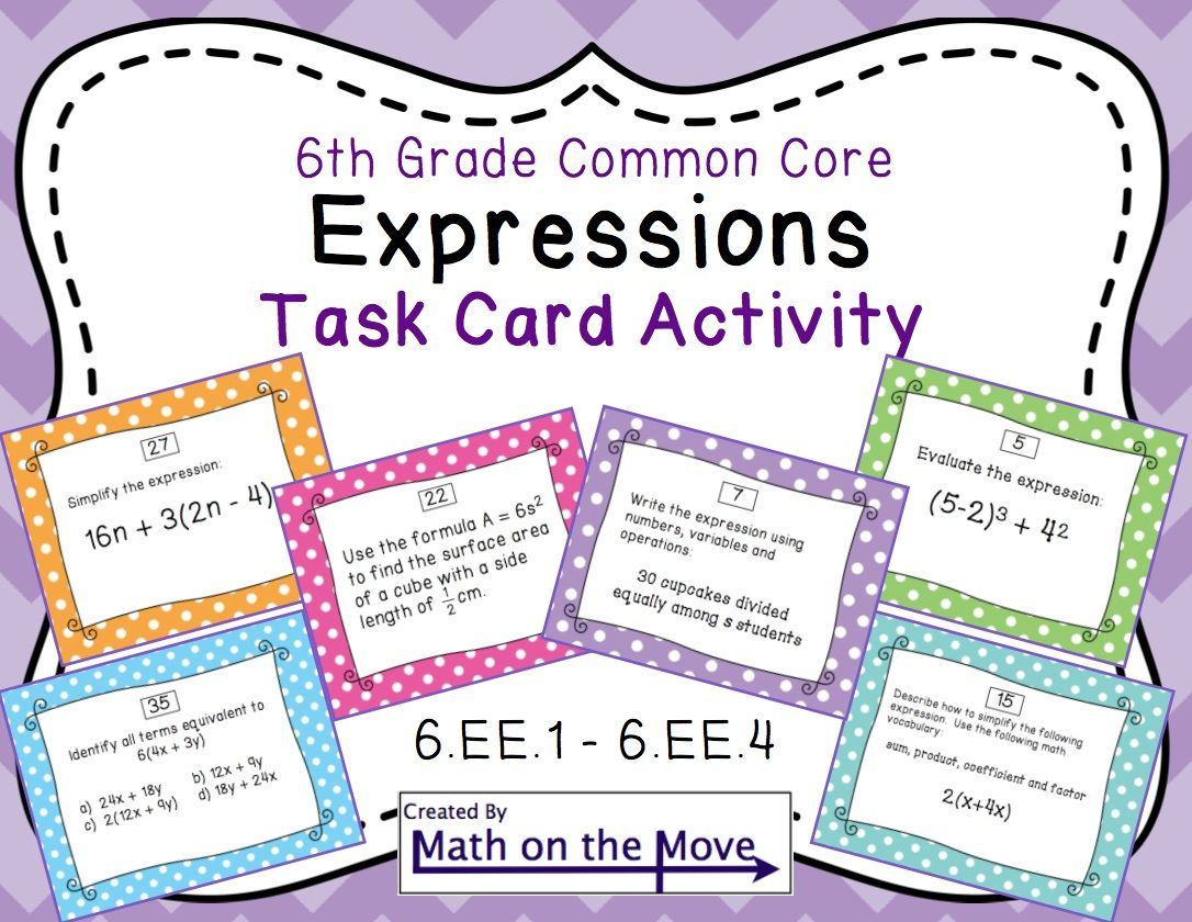 Expressions Task Cards Activity 6th Grade (6.EE.1 6.EE