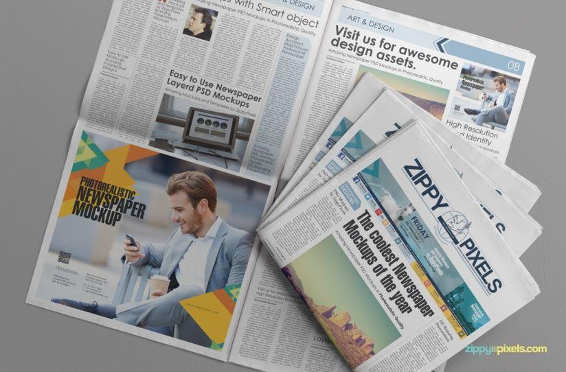 Free Photorealistic Newspaper Ad Mockup 01 824x542 Newspaper Mockup Mockup Free Psd Mockup Free Psd Download