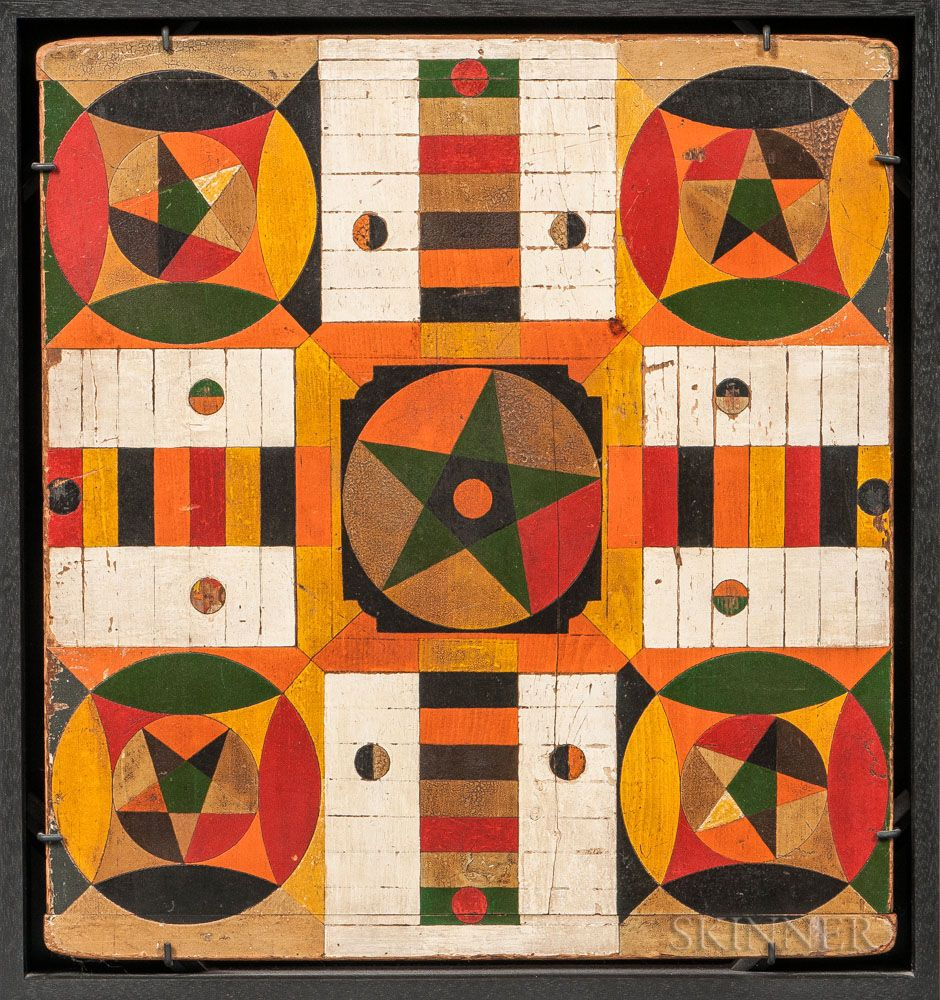 Homemade 19th Century Parcheesi Game Board Draws Big Offer At Skinner Auction Paint Games Board Games Old Board Games