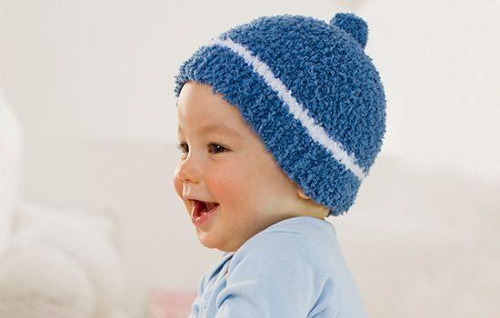 Free Knitting Pattern For A Denim And White Striped Baby Hat In