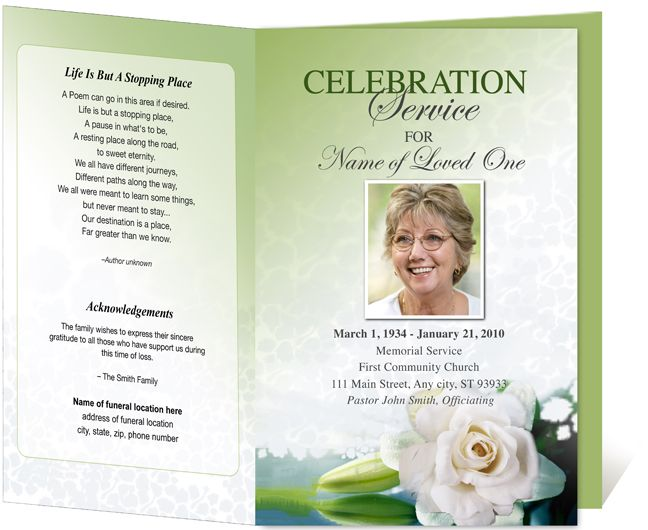 Letter Single Fold  Divine Funeral Program Template  Programs