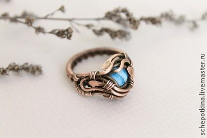 """""""Тайфун"""" - голубой,море,тайфун,весна,кольцо,медное кольцо,лена синельник"""