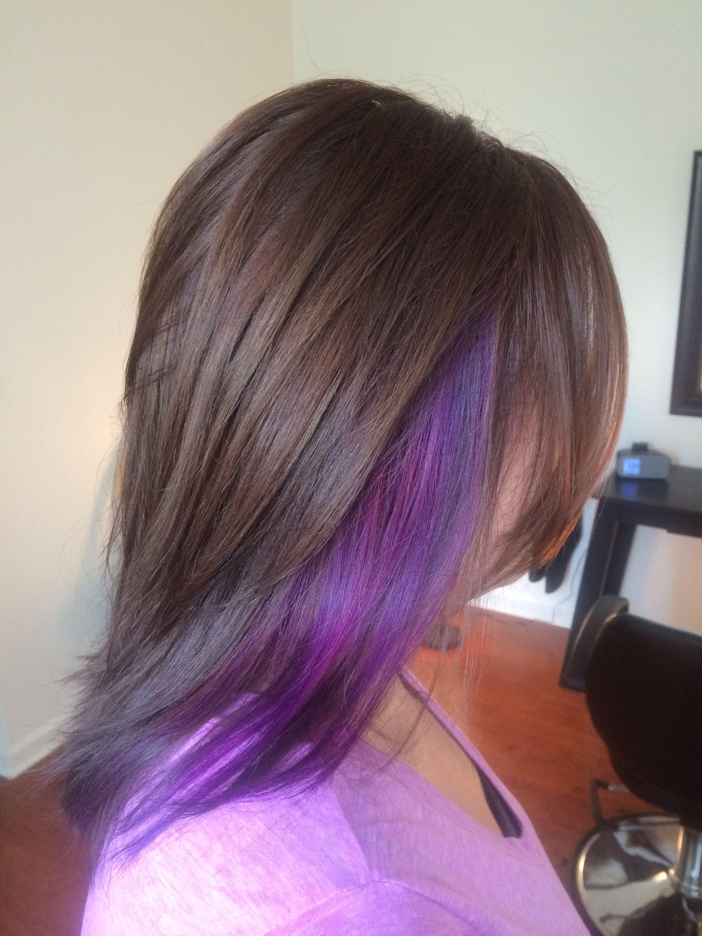 purple hair hot pink brunette