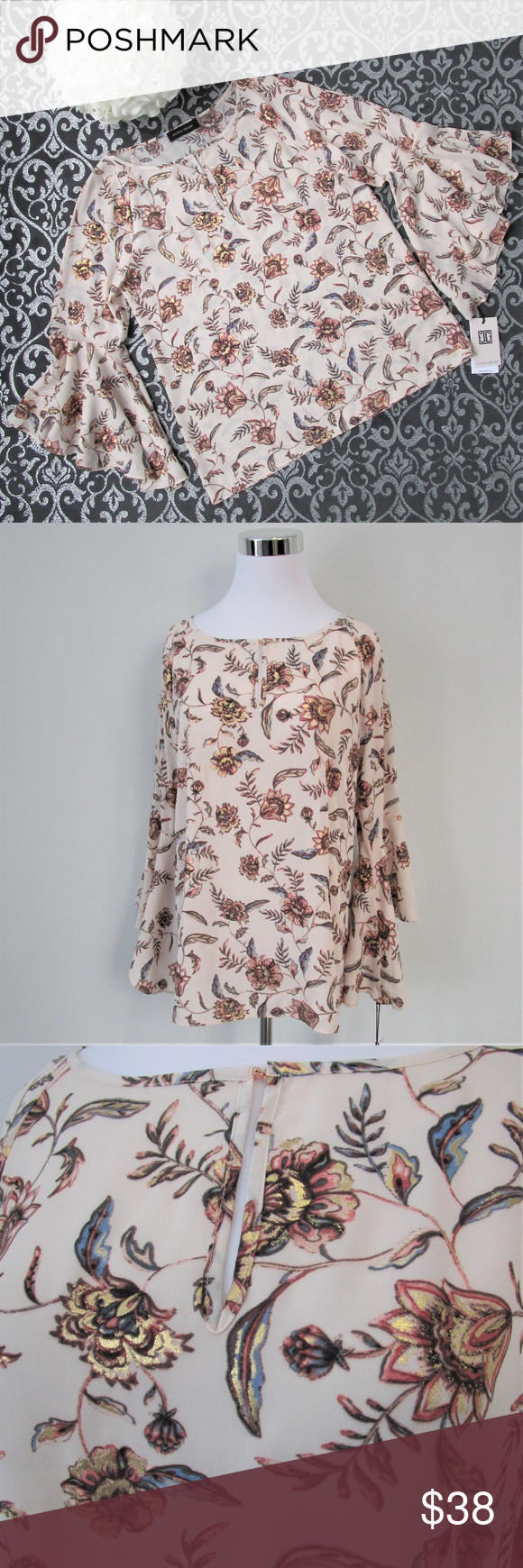 NWT Metallic Rose Gold Floral Bell Sleeve Blouse Simply Stunning! Flowy 51ce02f2b
