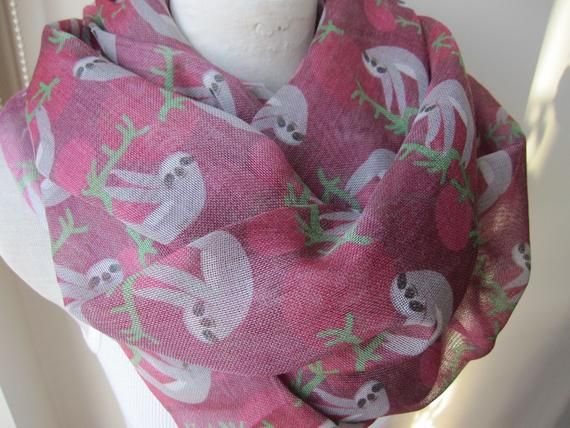 Animal scarves-Sloth scarf, sloth print fabric scarf-2015 trends accessory gifts-man fashion-mad-women's scarves-men's scarves-gift for her #mensscarves