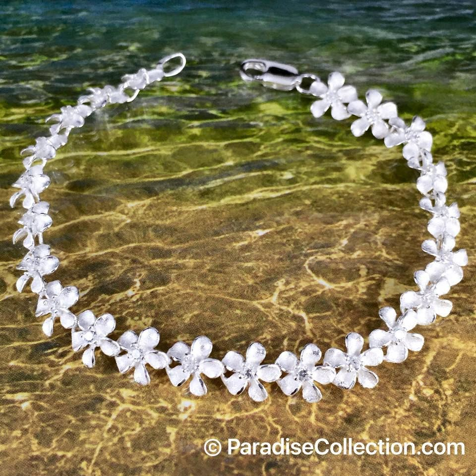 Sterling silver mm hawaiian plumeria with clear cz design bracelet