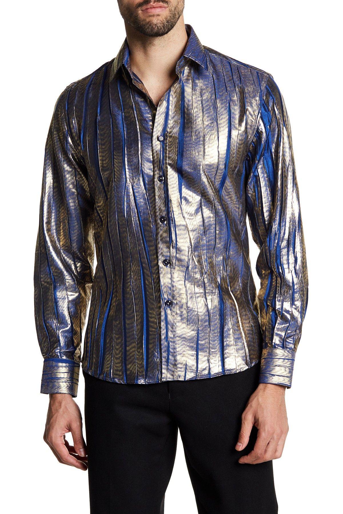 Leo 2 Slim Fit Printed Metallic Dress Shirt By Tr Premium On