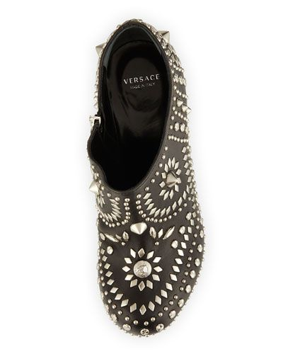 VERSACE Studded Leather Floating Platform Booties