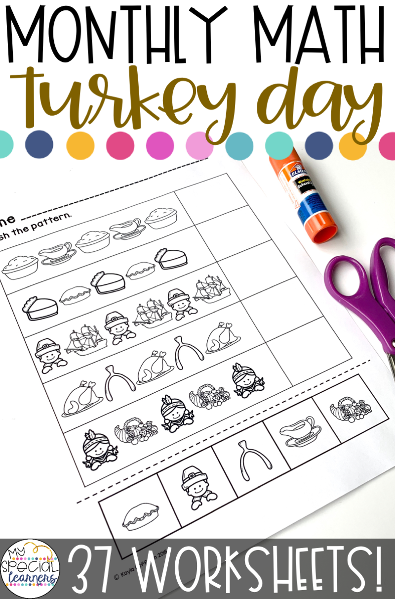 Turkey Day Math Worksheets For Special Education In 2021 Differentiation Math Special Education Math Elementary Special Education Classroom [ 1211 x 800 Pixel ]
