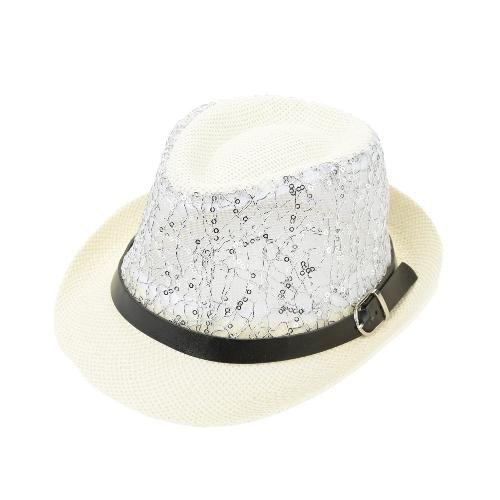 103e46efb33 TomTop - TomTop Fashion Boy Girl Straw Hat Sequins Sheer Mesh Belt Fedora  Curly Brim Baby