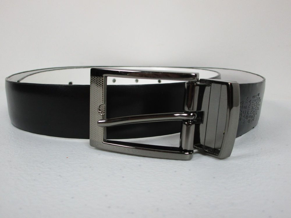 mens black and white reversible leather belt size 32 with