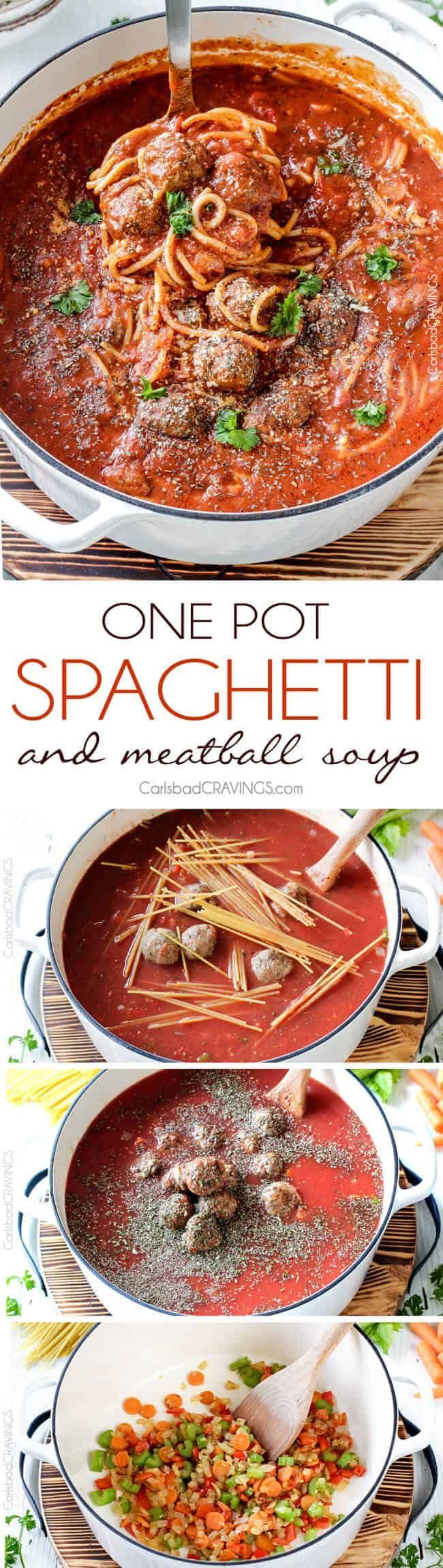 POT Italian Meatball Soup loaded with juicy meatballs in a savory tomato broth infused with Parmesan and herbs. This Italian Soup is a nod to your favorite spaghetti and meatballs but is even more slurp-worthy delicious!  You can use shortcut store-bought meatballs or these incredibly moist Parmesan meatballs for a