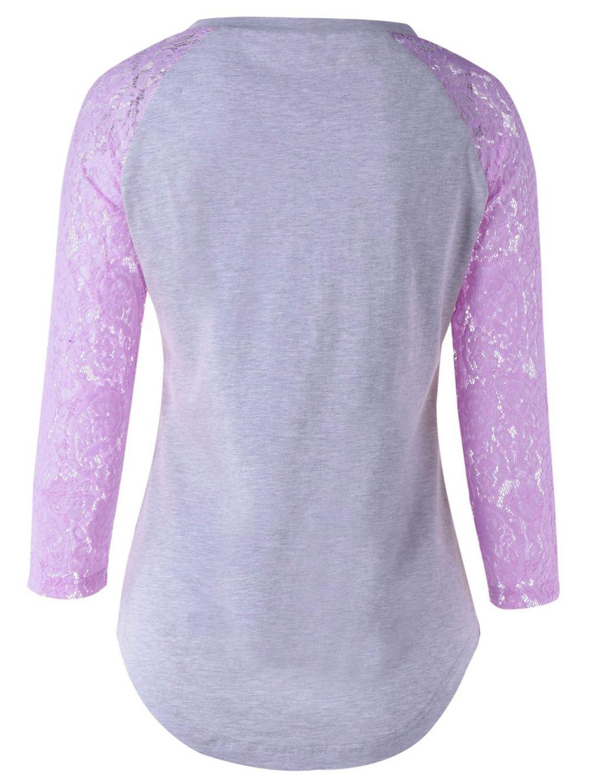 Plus Size Single Pocket Lace Splicing T-Shirt - LIGHT PURPLE 2XL