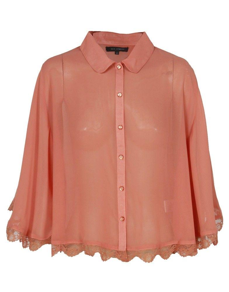 Orange Sheer Crop Cap Shirt