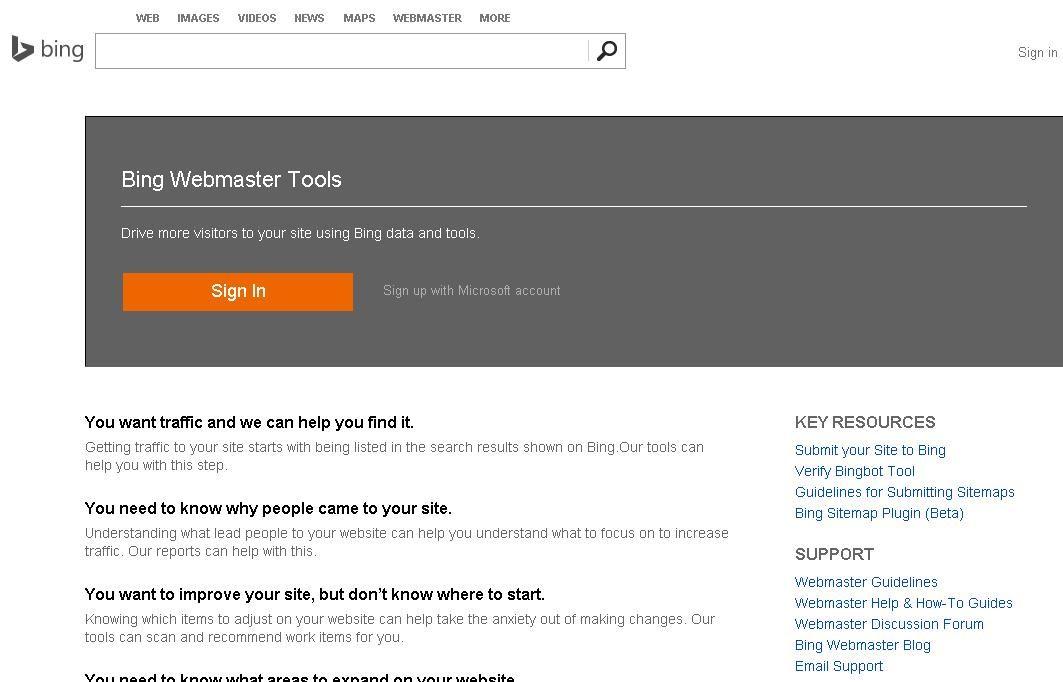 Bing Webmaster Tools Online marketing tools, Webmaster